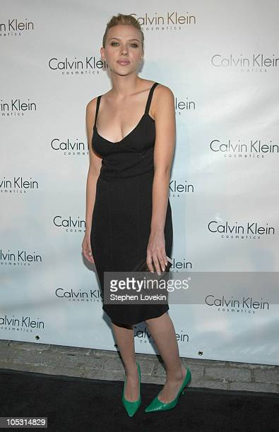 Scarlett Johansson during Calvin Klein Launch Party for Eternity Moment Fragrance Arrivals at Hotel Gansevoort in New York NY United States