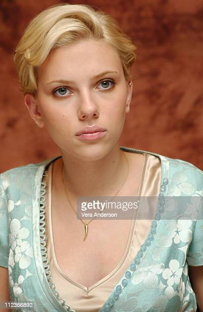 Scarlett Johansson during 'Girl with a Pearl Earring' Press Conference with Scarlett Johansson and Colin Firth at Regent Beverly Wilshire Hotel in...