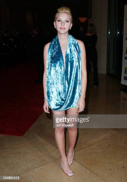 Scarlett Johansson during Hollywood Awards Gala Ceremony Red Carpet Arrivals at The Beverly Hilton in Beverly Hills California United States