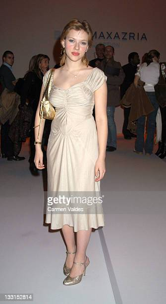 Scarlett Johansson during MercedesBenz Fashion Week Fall 2003 Collections BCBG / Max Azria Front Row at The Studio Bryant Park in New York NY United...