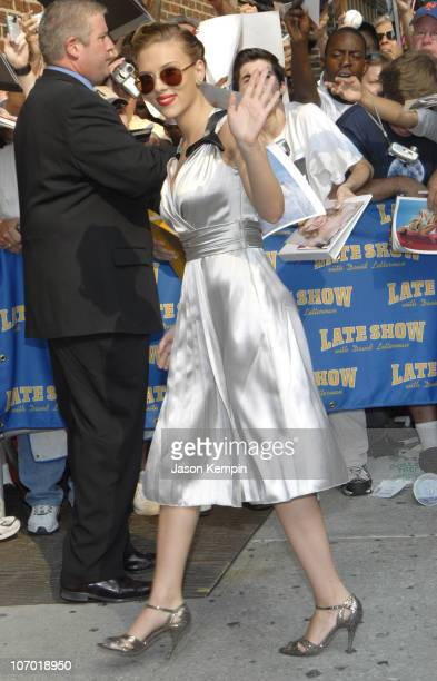 Scarlett Johansson during Scarlett Johansson David Letterman And The Cast of American Chopper Arrive at The Late Show with David Letterman July 26...