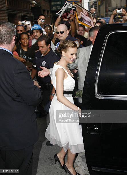 """Scarlett Johansson during Scarlett Johansson, David Letterman And The Cast of """"American Chopper"""" Arrive at """"The Late Show with David Letterman"""" -..."""