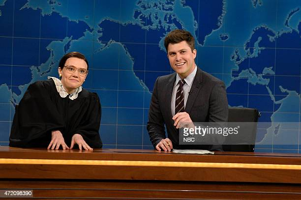 LIVE Scarlett Johansson Episode 1681 Pictured Kate McKinnon as Supreme Court Justice Ruth Bader Ginsberg Colin Jost and Michael Che during Weekend...