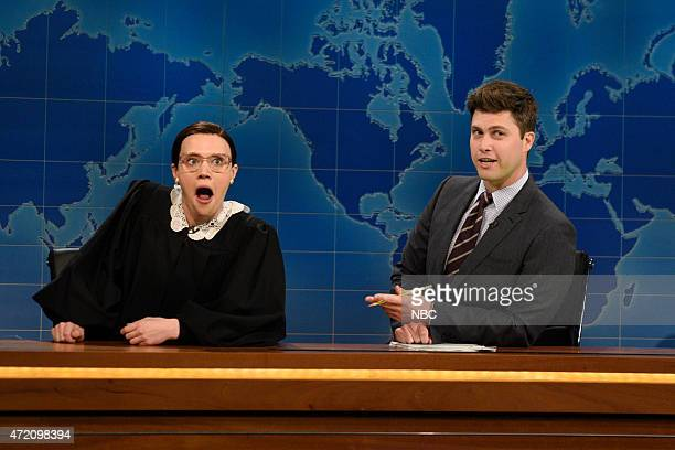 """Scarlett Johansson"""" Episode 1681 -- Pictured: Kate McKinnon as Supreme Court Justice Ruth Bader Ginsberg, Colin Jost and Michael Che during Weekend..."""