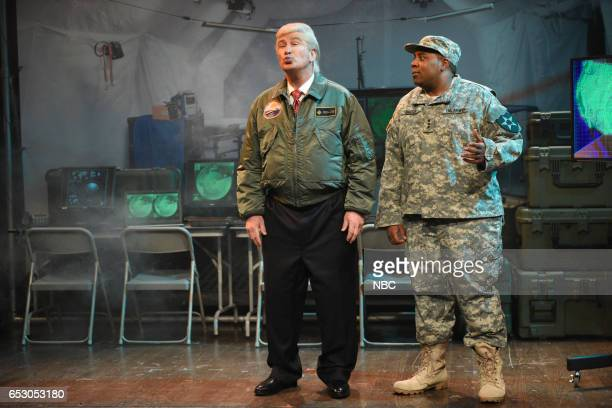 LIVE Scarlett Johansson Episode 1720 Pictured Alec Baldwin as President Donald Trump and Kenan Thompson during the Alien Attack Cold Open on March 11...