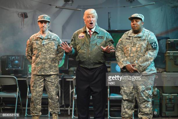 LIVE Scarlett Johansson Episode 1720 Pictured Alex Moffat Alec Baldwin as President Donald Trump and Kenan Thompson during the Alien Attack Cold Open...