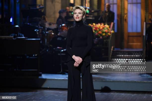 "Scarlett Johansson"" Episode 1720 -- Pictured: Host Scarlett Johansson during the monologue on March 11, 2017 --"