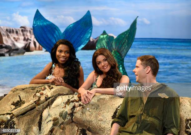LIVE 'Scarlett Johansson' Episode 1720 Pictured Sasheer Zamata Cecily Strong and Mikey Day during the 'Shud' sketch on March 11 2017