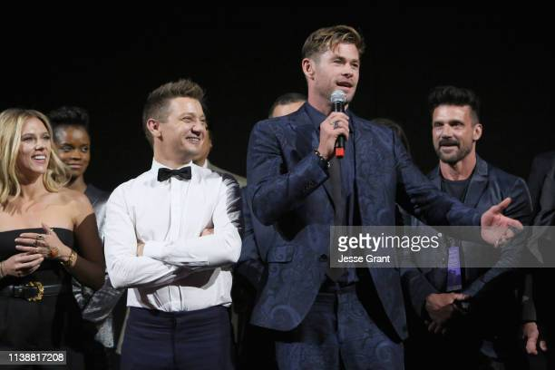 Scarlett Johansson Jeremy Renner and Chris Hemsworth speak onstage during the Los Angeles World Premiere of Marvel Studios' Avengers Endgame at the...