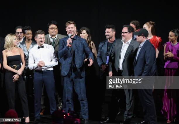 Scarlett Johansson Jeremy Renner Chris Hemsworth Executive producer Jon Favreau and President of Marvel Studios/Producer Kevin Feige speak onstage...