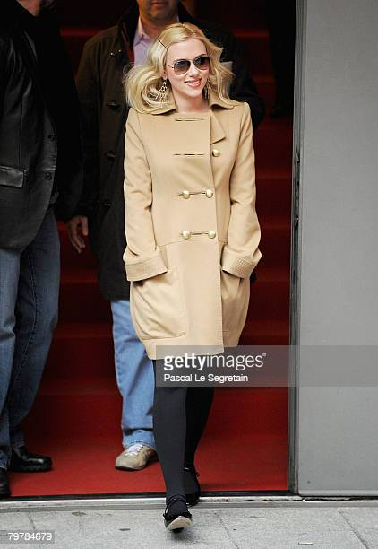 Scarlett Johansson leaves after attending 'The Other Boleyn Girl' photocall and press conferencece as part of the 58th Berlinale Film Festival at the...