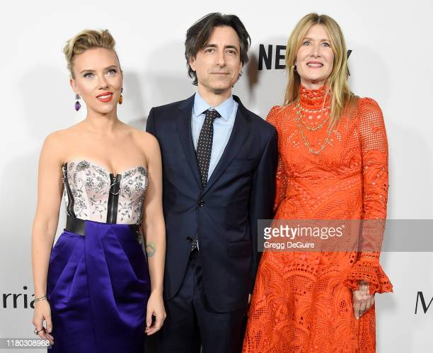 Scarlett Johansson Noah Baumbach and Laura Dern arrive at the Premiere Of Netflix's Marriage Story at DGA Theater on November 5 2019 in Los Angeles...