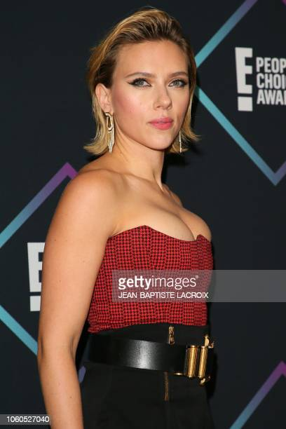 Scarlett Johansson nominee for The Female Movie Star of 2018 poses in the press room during the People's Choice Awards 2018 at Barker Hangar in Santa...