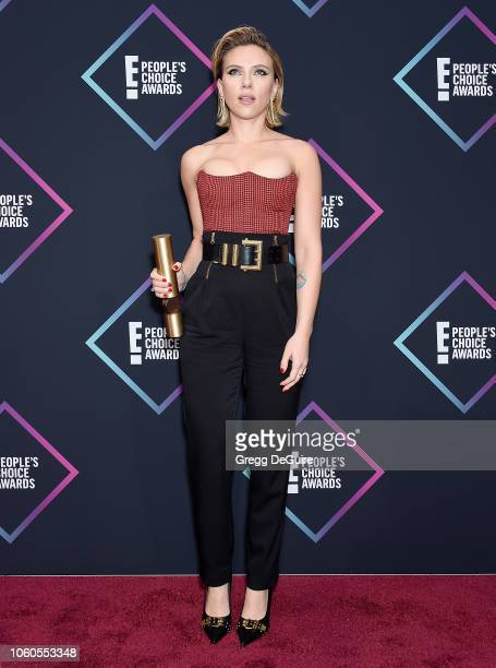 Scarlett Johansson nominee for The Female Movie Star of 2018 poses in the press room at the People's Choice Awards 2018 at Barker Hangar on November...