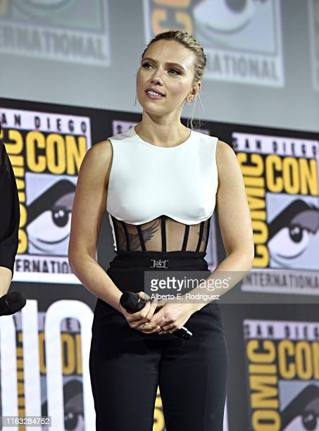 Scarlett Johansson of Marvel Studios' 'Black Widow' at the San Diego Comic-Con International 2019 Marvel Studios Panel in Hall H on July 20, 2019 in...