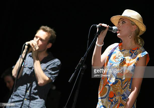 Scarlett Johansson performs with The Jesus and Mary Chain