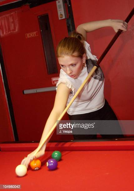 Scarlett Johansson playing pool during Vanilla Coke Launch Party at Pressure in New York City New York United States