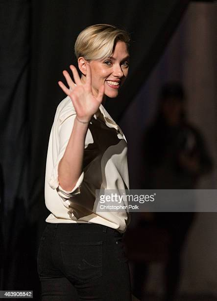 Scarlett Johansson seen backstage during rehersals for the 2015 Oscars at the Dolby Theatre at Hollywood and Highland on February 19 2015 in...