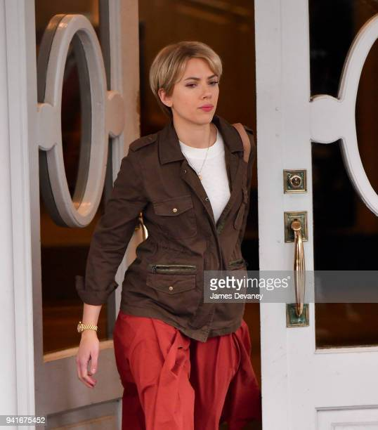 Scarlett Johansson seen on location for untitled Noah Baumbach project in Brooklyn on April 3 2018 in New York City