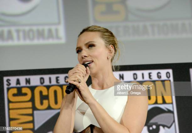 Scarlett Johansson speaks at the Marvel Studios Panel during 2019 ComicCon International at San Diego Convention Center on July 20 2019 in San Diego...