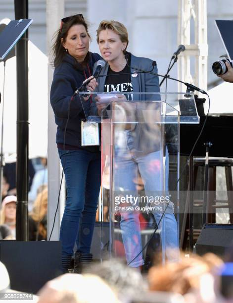 Scarlett Johansson speaks during the Women's March Los Angeles 2018 on January 20 2018 in Los Angeles California