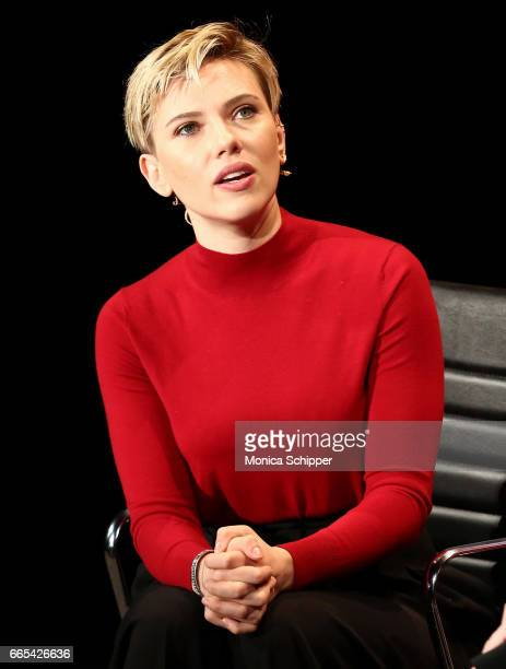 Scarlett Johansson speaks on stage at the 8th Annual Women In The World Summit at Lincoln Center for the Performing Arts on April 6 2017 in New York...