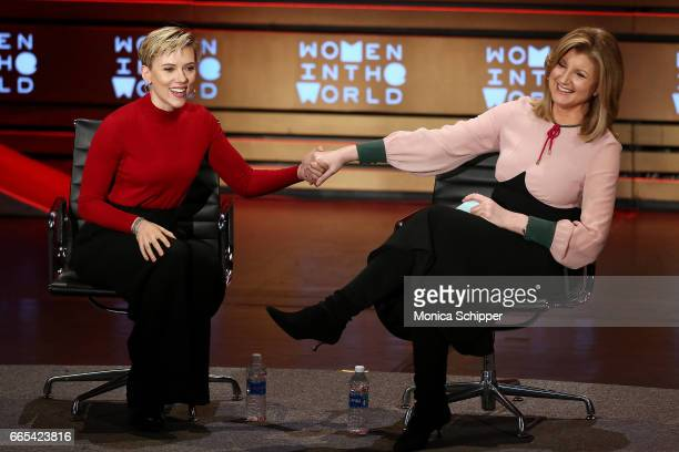 Scarlett Johansson speaks with Arianna Huffington on stage at the 8th Annual Women In The World Summit at Lincoln Center for the Performing Arts on...