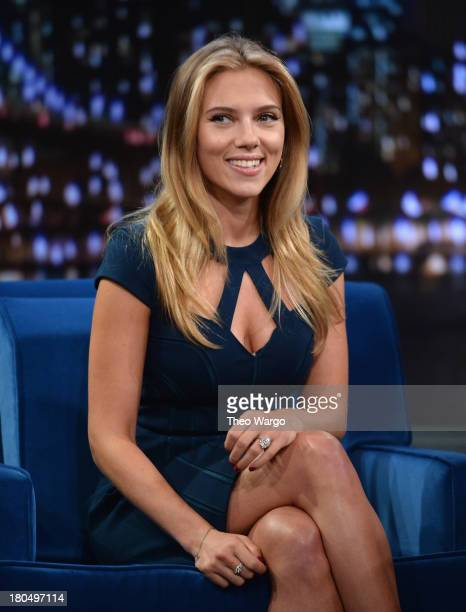 Scarlett Johansson visits 'Late Night With Jimmy Fallon' at Rockefeller Center on September 13 2013 in New York City