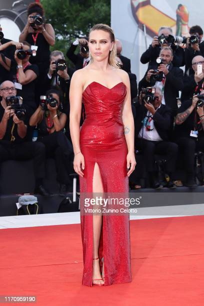 Scarlett Johansson walks the red carpet ahead of the Marriage Story screening during during the 76th Venice Film Festival at Sala Grande on August 29...