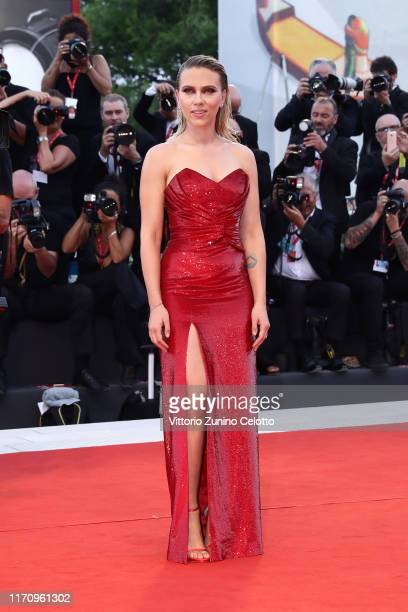 """Scarlett Johansson walks the red carpet ahead of the """"Marriage Story"""" screening during during the 76th Venice Film Festival at Sala Grande on August..."""