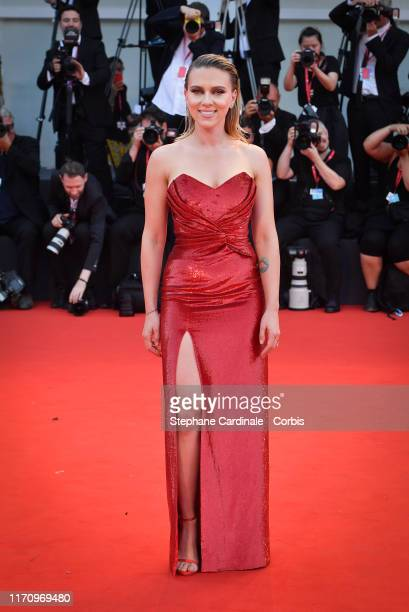 """Scarlett Johansson walks the red carpet ahead of the """"Marriage Story"""" screening during the 76th Venice Film Festival at Sala Grande on August 29,..."""
