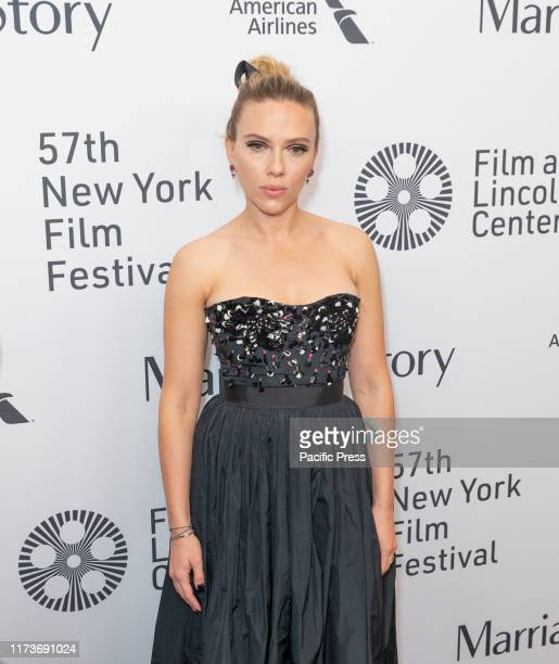 Scarlett Johansson wearing dress by Dior attends premiere of Marriage Storyat 57th New York Film Festival at Lincoln Center Alice Tully Hall