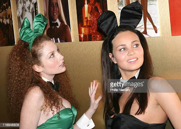 Scarlett Keegan and Janine Habeck during Playboy Exposed Exhibition Dublin Photocall at Harvey Nichols in Dublin Ireland