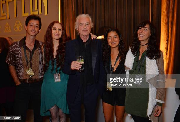 Scarlett Sabet and Jimmy Page attend the launch of 'Led Zeppelin' by Led Zeppelin the official illustrated book marking the 50th anniversary of their...