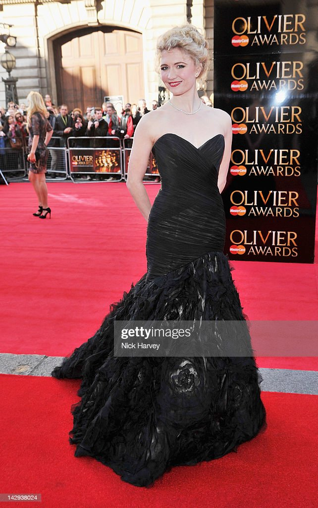 Scarlett Strallen arrives at the Olivier Awards 2012 at The Royal Opera House on April 15, 2012 in London, England.