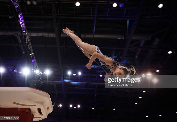 Scarlett Williams of Robin Hood Gymnastics performs on the Vault during The Women's Junior AllAround Subdivision 2Round during the Gymnastics British...