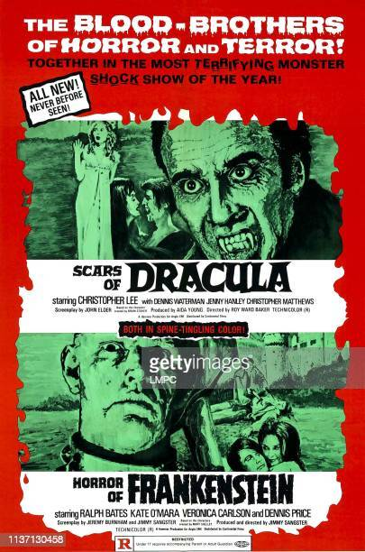 Scars Of Dracula poster from left Jenny Hanley Anouska Hempel Christopher Matthews Christopher Lee at bottom HORROR OF FRANKENSTEIN on left David...