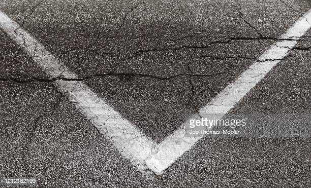 scars & sign on the road - corner kick stock pictures, royalty-free photos & images