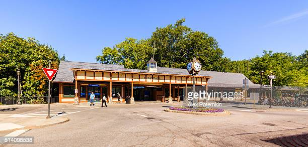 scarsdale railroad station and plaza, westchester county, new york state - scarsdale stock photos and pictures