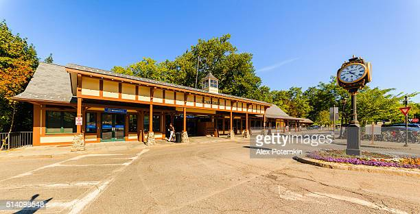 scarsdale railroad station and plaza, westchester county, new york state - westchester county stock pictures, royalty-free photos & images