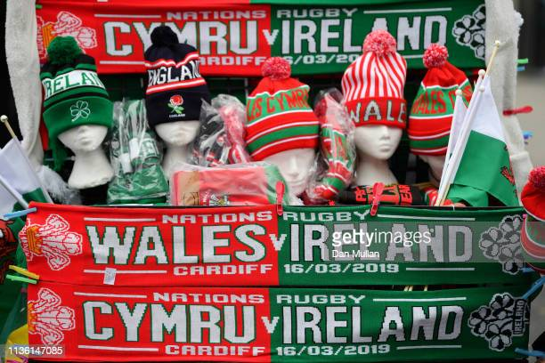 Scarves and hats are seen for sale prior to the Guinness Six Nations match between Wales and Ireland at Principality Stadium on March 16 2019 in...