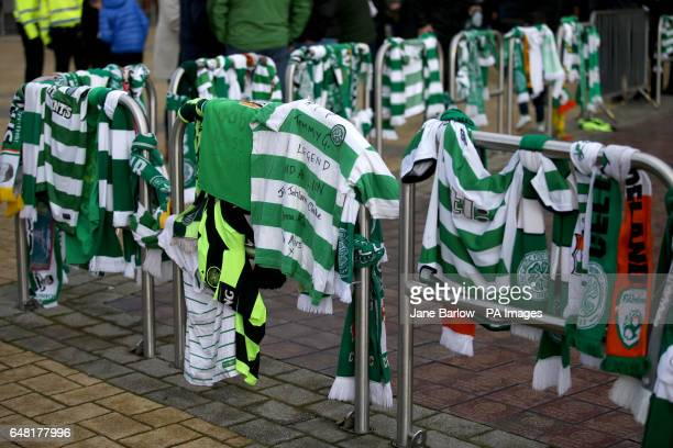 Scarves and shirts are laid out in memory of Tommy Gemmell before the Ladbrokes Scottish Premiership match at Celtic Park Glasgow