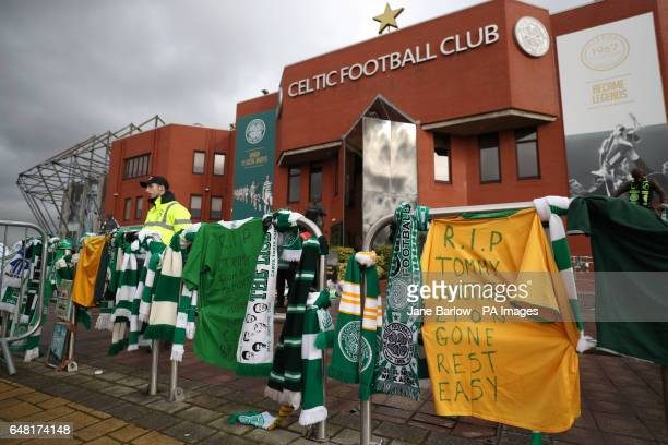 Scarves and shirts laid out in memory of Tommy Gemmell during the Ladbrokes Scottish Premiership match at Celtic Park Glasgow