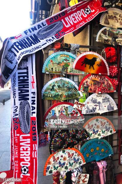 Scarves are available for sale prior to the UEFA Champions League Final between Tottenham Hotspur and Liverpool at Estadio Wanda Metropolitano on May...