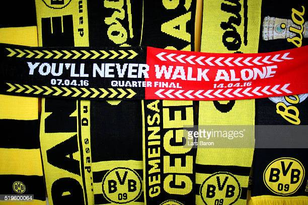 Scarves are displayed for sale outside the stadium before the UEFA Europa League quarter final first leg match between Borussia Dortmund and...