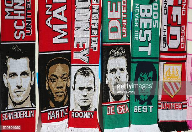 Scarves are seen on sale outside Old Trafford prior to the Barclays Premier League match between Manchester United and Crystal Palace at Old Trafford...