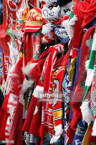 Scarves are tied to the Shankly Gates next the Hillsborough memorial at Anfield on April 15 Liverpool England Thousands of fans friends and relatives...
