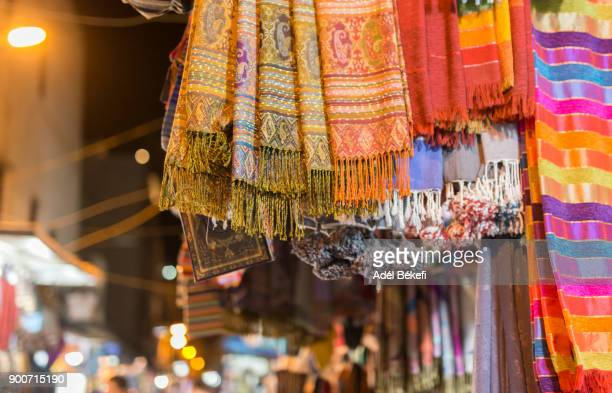 scarves at the shop (morocco) - shawl stock pictures, royalty-free photos & images