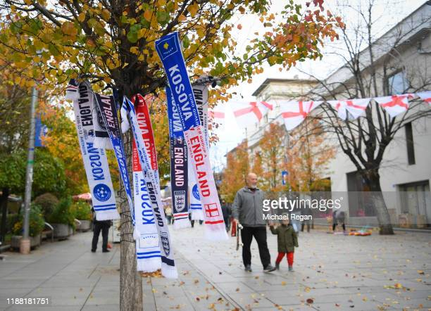 Scarves for sale on the street before the UEFA Euro 2020 Qualifier between Kosovo and England on November 17 2019 in Pristina Kosovo