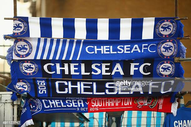Scarves for sale outside the ground before the Barclays Premier League match between Chelsea and Southampton at Stamford Bridge on October 3 2015 in...